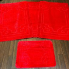 ROMANY WASHABLES GYPSY MATS 4PC SETS NON SLIP GERMAN BOARDER DESIGN RED CARPETS